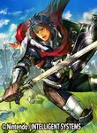 1boy armor beard blue_hair boots cape cloud copyright_name faceless faceless_male facial_hair fire_emblem fire_emblem:_kakusei fire_emblem_cipher furikawa_arika gloves grass headband helmet male_focus official_art open_mouth polearm priam shield sky solo spear sword torn_clothes weapon