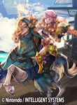 1boy beret blonde_hair book boots brown_eyes cape cloud copyright_name drill_hair fire_emblem fire_emblem_cipher fire_emblem_if foleo_(fire_emblem_if) furikawa_arika gloves hat horse long_hair male_focus official_art sky solo sparkle trap