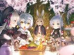 3girls :o ahoge animal apple arm_belt assassin_of_black banana bandage bandaged_arm bangs basket bell black_bodysuit black_bow black_capelet black_dress black_hat black_jacket black_ribbon blue_eyes blurry blurry_foreground blush bodysuit bottle bow brown_belt bunny cake cantaloupe capelet cherry_blossoms clothed_animal commentary_request cup depth_of_field dress eyebrows_visible_through_hair fate/apocrypha fate/extra fate_(series) food fork fruit fur-trimmed_capelet grapes hair_between_eyes hat headpiece holding holding_fork holding_plate jacket jeanne_d'arc_(fate)_(all) jeanne_d'arc_alter_santa_lily long_hair long_sleeves looking_at_another multiple_girls nursery_rhyme_(fate/extra) open_mouth outdoors outstretched_arm parted_lips petals plate puffy_long_sleeves puffy_sleeves purple_eyes red_apple ribbon saucer scar scar_across_eye scar_on_cheek short_hair shoulder_tattoo silver_hair sleeveless slice_of_cake slit_pupils strawberry_shortcake striped striped_bow striped_ribbon sweat table tattoo teacup teapot tears tree v-shaped_eyebrows white_capelet white_dress yasuyuki yellow_eyes