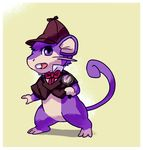 2017 3_toes basil_(disney) border bottomless bow_tie clothed clothing cosplay disney fur hat holding_object looking_at_viewer magnifying_glass nintendo open_mouth pokémon pokémon_(species) purple_eyes purple_fur rattata simple_background tderek99 the_great_mouse_detective toes video_games white_border yellow_background