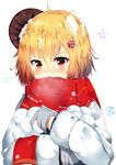 1girl absurdres ahoge blonde_hair eyebrows_visible_through_hair hair_ornament highres huaimeng long_sleeves looking_at_viewer mittens open_mouth original red_eyes red_scarf scarf short_hair snowball snowflake_hair_ornament snowflakes solo upper_body