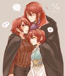 2girls armor blush brother_and_sister closed_eyes dress eyes_closed fire_emblem fire_emblem:_monshou_no_nazo hairband headband hug long_hair maria_(fire_emblem) minerva_(fire_emblem) misheil_(fire_emblem) multiple_girls red_eyes red_hair short_hair siblings sisters smile tnmrdgr