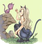 1girl animal_ears black_footwear black_hairband blonde_hair blue_dress boots bracelet breasts brown_eyes cat cat_ears cat_tail dress earrings eden's_zero fake_animal_ears fake_tail frilled_dress frills full_body hairband happy_(eden's_zero) jewelry long_hair mashima_hiro medium_breasts official_art rebecca_(eden's_zero) shiny shiny_legwear shiny_skin short_dress sideboob signature simple_background sleeveless sleeveless_dress smile solo squatting strapless strapless_dress tail thigh_boots thighhighs yellow_background zettai_ryouiki