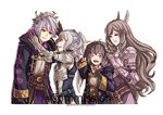1boy 3girls armor breastplate brown_hair cynthia eyes_closed family fire_emblem fire_emblem:_kakusei grey_hair grin gzei head_wreath male_my_unit_(fire_emblem:_kakusei) mark_(fire_emblem) multiple_girls my_unit_(fire_emblem:_kakusei) pauldrons simple_background smile sumia white_background