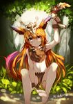 1girl absurdres barefoot blush bone bone_necklace boomerang brown_eyes feather_hair_ornament forest fur gnar hair_skull highres league_of_legends long_hair looking_at_viewer nature navel orange_hair outdoors personification sitting skull smile solo tail