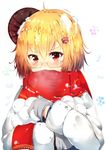 1girl absurdres ahoge blonde_hair eyebrows_visible_through_hair glasses hair_ornament highres huaimeng long_sleeves looking_at_viewer mittens open_mouth original red_eyes red_scarf scarf short_hair snowball snowflake_hair_ornament snowflakes solo upper_body
