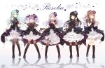 5girls :d ;) ;d aqua_hair aqua_rose ascot bang_dream! bangs black_choker black_flower black_footwear black_hair black_legwear black_neckwear black_ribbon black_rose blue_flower blue_rose blunt_bangs blush boots bow bowtie brown_hair choker clenched_hand collared_dress corsage corset cross-laced_footwear detached_sleeves dress finger_to_mouth flower frilled_dress frills full_body green_eyes group_name hair_flower hair_ornament hair_ribbon half_updo hand_in_hair hand_on_own_chest hand_up highres hikawa_sayo imai_lisa knee_boots long_hair looking_at_viewer minato_yukina multiple_girls one_eye_closed open_mouth overskirt pantyhose purple_eyes purple_flower purple_hair purple_rose red_eyes red_flower red_rose reflection ribbon rose roselia_(bang_dream!) see-through_sleeves shirokane_rinko short_sleeves silver_hair skirt_hold smile standing striped taya_5323203 thighhighs twintails udagawa_ako vertical_stripes wrist_cuffs yellow_eyes
