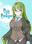 1girl absurdres alternate_costume alternate_hairstyle bespectacled black-framed_eyewear blue_eyes blue_neckwear breasts brown_jacket brown_sweater denim fingerless_gloves glasses gloves green_hair grey hand_on_hip highres jacket jeans kantai_collection kirishina_(raindrop-050928) long_hair long_sleeves medium_breasts mole mole_under_mouth nail_polish necktie pants semi-rimless_eyewear shirt simple_background smile solo sweater text under-rim_eyewear very_long_hair white_shirt yuugumo_(kantai_collection)