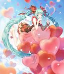 1girl ;d aqua_eyes aqua_hair bangs bare_arms bare_legs bare_shoulders barefoot black_dress blue_sky blurry blurry_background blush bow cat_princess day depth_of_field detached_wings dress flower full_body hair_bow hair_flower hair_ornament hand_on_own_chin hatsune_miku heart_balloon index_finger_raised layered_dress leaning_forward leg_garter long_hair long_sleeves looking_at_viewer one_eye_closed open_mouth outdoors petals red_bow shiny shiny_hair single_detached_sleeve sky sleeveless sleeveless_dress smile solo striped striped_bow transparent very_long_hair vocaloid white_wings wings