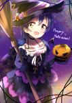 1girl bangs blue_hair blush broom cape choker collarbone commentary_request cowboy_shot eyebrows_visible_through_hair gloves hair_between_eyes halloween halloween_costume hat highres holding jack-o'-lantern long_hair looking_at_viewer love_live! love_live!_school_idol_project night pumpkin ribbon smile sonoda_umi witch witch_hat yellow_eyes