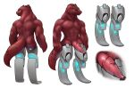 2019 abs amputee animal_genitalia anthro biceps butt close-up cockslit cybernetics cyborg digital_media_(artwork) dungeons_&_dragons erection futuristic hi_res kobold lizard looking_at_viewer machine male model_sheet muscular muscular_male nude pecs penis prosthetic reptile scales scalie scar science_fiction simple_background solo standing swolebold thick_thighs w4g4 yellow_sclera