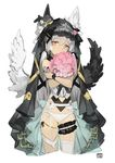 1girl animal_ears bangs black_wings bouquet cropped_legs dated flower garter_belt grey_background grey_hair hair_between_eyes holding holding_bouquet looking_at_viewer object_hug original panties pink_eyes rayvon sidelocks simple_background single_thighhigh solo tareme thighhighs underwear veil white_legwear white_panties white_wings wings