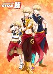 3boys blonde_hair child_gilgamesh fate/grand_order fate/hollow_ataraxia fate/stay_night fate_(series) full_body gilgamesh gilgamesh_(caster)_(fate) hat highres idol idolmaster idolmaster_side-m jupiter_(idolmaster) multiple_boys multiple_persona orange_background parody red_eyes salute star starry_background twitter_username two-finger_salute