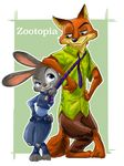 2016 3_toes anthro black_nose border canine claws clothed clothing crossed_legs digital_media_(artwork) digital_painting_(artwork) dipstick_ears disney duo eyelashes fox fur green_background green_eyes hand_on_hip harara hawaiian_shirt inner_ear_fluff judy_hopps lagomorph looking_aside looking_at_another looking_down looking_up mammal necktie necktie_pull nick_wilde orange_fur outline pants pink_nose police_uniform purple_eyes rabbit raised_eyebrow shirt simple_background smile toes uniform white_border zootopia