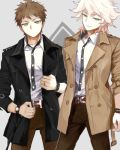2boys ahoge alternate_costume belt black_jacket bracelet brown_belt brown_hair brown_jacket brown_legwear closed_mouth commentary_request cowboy_shot danganronpa feet_out_of_frame green_eyes hair_between_eyes half-closed_eyes hinata_hajime jacket jewelry kame4282 komaeda_nagito male_focus multiple_boys open_clothes open_eyes open_jacket open_mouth shirt short_hair simple_background sleeves_rolled_up standing super_danganronpa_2 watch white_hair white_shirt wristwatch yellow_eyes