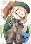 1girl angry babe_(fate) bangs boots clenched_teeth collared_shirt cura dot_nose fate/grand_order fate_(series) full_body gloves green_hat green_jacket grey_footwear grey_gloves grey_legwear half-closed_eyes hat head_tilt jacket long_hair looking_at_viewer orange_eyes outdoors pantyhose parted_bangs paul_bunyan_(fate/grand_order) shaded_face sharp_teeth shirt short_hair solo squatting sun teeth wing_collar