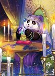 1girl blue_eyes candle card copyright_name crystal curtains fire flower force_of_will furry gem jewelry leaf lipstick makeup matsurika_youko necklace official_art panda sitting tarot veil