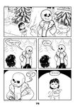 2017 animated_skeleton bone c-puff clothed clothing comic english_text group hi_res human humanoid mammal not_furry protagonist_(undertale) sans_(undertale) skeleton text undead undertale video_games