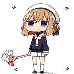 1girl beret black_footwear black_ribbon black_shirt blend_s blush card_captor_sakura closed_mouth commentary_request cosplay empty_eyes full_body hair_ribbon hat holding holding_wand hoshikawa_mafuyu kanikama kinomoto_sakura kinomoto_sakura_(cosplay) kneehighs light_brown_hair long_sleeves lowres pleated_skirt purple_eyes ribbon school_uniform serafuku shirt short_hair skirt sleeves_past_wrists solo standing wand white_hat white_legwear white_skirt