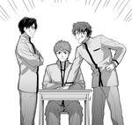 3boys anger_vein arguing crossed_arms desk emiya_shirou fate/stay_night fate_(series) gakuran glasses greyscale hand_on_hip homurahara_academy_uniform male_focus matou_shinji monochrome multiple_boys ryuudou_issei school_desk school_uniform simple_background sitting wavy_hair white_background