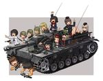 6+girls ankle_boots anzio_military_uniform bangs black_footwear black_hair black_hat black_jacket black_legwear black_neckwear blonde_hair blouse blue_eyes bolt_action boots bow bowtie brown_eyes brown_hair caesar_(girls_und_panzer) carpaccio_(girls_und_panzer) chin_rest coke-bottle_glasses dress_shirt emblem erwin_(girls_und_panzer) eyepatch eyes_closed freckles garrison_cap girls_und_panzer goggles goggles_on_headwear green_hat grey_background grey_hair ground_vehicle gun handgun hat helmet holding itsumi_erika jacket katahira_masashi kawashima_momo kuromorimine_military_uniform long_hair long_sleeves lying machine_gun mauser_98 messy_hair military military_hat military_uniform military_vehicle miniskirt momogaa_(girls_und_panzer) monocle motor_vehicle mp40 multiple_girls nakajima_(girls_und_panzer) neckerchief nekonyaa_(girls_und_panzer) ninja nishizumi_maho on_stomach one_eye_closed ooarai_(emblem) ooarai_military_uniform ooarai_school_uniform open_mouth oryou_(girls_und_panzer) outside_border peaked_cap pistol piyotan_(girls_und_panzer) pleated_skirt pointing pointing_up raised_fist red_headband red_shirt red_skirt rifle saemonza_(girls_und_panzer) saunders_school_uniform shirt short_hair silver_hair sitting skirt smile socks standing sturmgeschutz_iii submachine_gun tank thighhighs translation_request tsuchiya_(girls_und_panzer) turretless_tank uniform v walther walther_p38 weapon weapon_request white_blouse x-ray