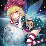 1girl :o alternate_legwear american_flag_dress american_flag_legwear arm_rest arm_support asymmetrical_clothes bangs blonde_hair blue_nails blush clownpiece commentary_request crescent_moon dress eyebrows_visible_through_hair fairy_wings fingernails full_moon hair_between_eyes hat head_tilt jester_cap kneeling leaning_forward long_hair looking_at_viewer minamura_haruki moon nail_polish neck_ruff no_shoes parted_lips polka_dot_hat red_eyes red_nails ripples short_dress solo star star_print striped thighhighs touhou water wings zettai_ryouiki