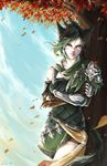 1girl absurdres autumn_leaves blue_sky braid cat_tail commentary commission facial_mark final_fantasy final_fantasy_xiv fingerless_gloves gloves green_eyes green_hair highres leaning_on_object looking_at_viewer miqo'te onyrica outdoors scar short_hair sky solo tail tree wind