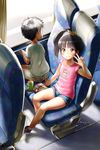1boy 1girl arm_up black_hair bow brown_eyes bus_interior denim denim_shorts highres kneeling legs long_hair mayafufu open_mouth original pink_shirt print_shirt ribbon shirt shoes short_hair short_shorts shorts side_ponytail sitting smile sneakers v window