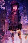 1girl absurdres black_hair black_legwear black_skirt bus_stop commentary_request crescent crescent_moon hair_between_eyes hands_in_pockets hat highres jacket kaamin_(mariarose753) light_particles looking_at_viewer moon night open_mouth outdoors pleated_skirt purple red_eyes scarf sketch skirt sky snow solo standing star_(sky) starry_sky striped striped_scarf thighhighs zettai_ryouiki