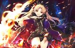 1girl :d black_cape black_dress black_panties blonde_hair bow breasts brown_eyes cape commentary_request cowboy_shot crown cura dress earrings ereshkigal_(fate/grand_order) eyebrows_visible_through_hair fate/grand_order fate_(series) fire fur_trim hair_bow jewelry medium_breasts open_mouth panties red_bow smile solo sparks standing thighhighs tohsaka_rin two_side_up underwear