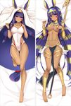 1girl bakugadou bangs bare_arms bare_legs barefoot bed_sheet blush breasts cameltoe closed_mouth cosplay covered_navel dakimakura dark_skin earrings egyptian_clothes eyebrows_visible_through_hair facial_mark fate/grand_order fate_(series) full_body gluteal_fold groin hair_between_eyes hair_tubes hairband hand_on_own_chest hoop_earrings jackal_ears jewelry knees_together_feet_apart long_hair looking_at_viewer low-tied_long_hair lying medium_breasts medjed medjed_(cosplay) multicolored_hair multiple_views navel necklace nitocris_(fate/grand_order) nitocris_(swimsuit_assassin)_(fate) on_back one-piece_swimsuit pelvic_curtain purple_eyes smile staff swimsuit thigh_gap two-tone_hair very_long_hair white_swimsuit