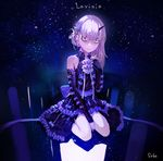 1girl alternate_costume artist_name asymmetrical_hair bags_under_eyes bangs bare_shoulders between_legs blush bow character_name commentary_request constricted_pupils dress earrings elbow_gloves fate/grand_order fate_(series) gloves hair_bow hand_between_legs highres horn jewelry lavinia_whateley_(fate/grand_order) long_hair looking_at_viewer red_eyes silver_hair sitting sky sohn_woohyoung solo star_(sky) starry_sky