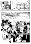 2boys 2girls ascot bow child comic comizku detached_sleeves glasses gohei greyscale hair_bow hair_tubes hakurei_reimu japanese_clothes kimono lock long_skirt monochrome multiple_boys multiple_girls page_number shirt short_hair skirt sleeveless sleeveless_shirt touhou translation_request