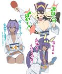 3girls :d alternate_costume animal_ears arm_up asarokuji assassin_(fate/prototype_fragments) ball bangs bath_yukata black_hair black_hairband blue_footwear blunt_bangs blush bouncing_breasts bouquet breasts bunny_ears cleavage commentary_request cowboy_shot cropped_legs dark_skin elbow_gloves eyebrows_visible_through_hair facial_mark fate/grand_order fate_(series) flower gloves hair_between_eyes hairband hat highres holding holding_bouquet japanese_clothes kimono large_breasts long_hair long_sleeves looking_at_viewer medium_breasts multiple_girls nitocris_(fate/grand_order) open_mouth paddle panties purple_eyes purple_hair purple_hat short_hair sidelocks simple_background skirt_basket slippers slippers_removed small_breasts smile standing striped table_tennis_ball table_tennis_paddle thigh_gap translation_request two-tone_background underwear v-shaped_eyebrows vertical_stripes very_long_hair white_background white_kimono white_panties wide_sleeves xuanzang_(fate/grand_order) yukata