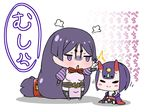 2girls :o absurdly_long_hair angry black_legwear black_panties chibi closed_mouth commentary_request eyes_closed fate/grand_order fate_(series) gem headpiece highres hitting horns japanese_clothes jitome kimono long_hair low-tied_long_hair minamoto_no_raikou_(fate/grand_order) multiple_girls obi off_shoulder oni oni_horns onomatopoeia panties pelvic_curtain puffy_short_sleeves puffy_sleeves purple_eyes purple_hair rei_(rei_rr) sash short_eyebrows short_hair short_sleeves shuten_douji_(fate/grand_order) simple_background sitting smile standing thighhighs translation_request underwear very_long_hair white_background wide_sleeves