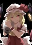 1girl absurdres ascot backlighting bangs blonde_hair bow crystal eyebrows_visible_through_hair fangs flandre_scarlet hands_up hat hat_bow hat_ribbon highres holding holding_skull looking_at_viewer medium_hair mob_cap parted_lips puffy_short_sleeves puffy_sleeves red_bow red_eyes red_ribbon ribbon shirt short_sleeves sketch skull slit_pupils smile solo touhou upper_body watchi wings wrist_cuffs yellow_neckwear