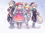 1girl 2boys ^_^ androgynous beret black_coat black_gloves blonde_hair blue_eyes boots bow charles_henri_sanson_(fate/grand_order) child coat eyes_closed fate/grand_order fate_(series) full_body fur_trim gift gloves hair_bow hat le_chevalier_d'eon_(fate/grand_order) long_hair marie_antoinette_(fate/grand_order) mini_hat mini_top_hat multiple_boys sack santa_costume santa_hat silver_hair smile star starry_background top_hat twintails wanko_(takohati8) wolfgang_amadeus_mozart_(fate/grand_order) younger