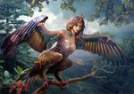 2017 avian breasts brown_feathers day detailed_background digital_media_(artwork) feathered_wings feathers female hair harpy outside purple_hair red_eyes sky solo vasylina wings
