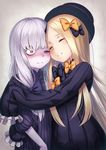 2girls abigail_williams_(fate/grand_order) bags_under_eyes bangs black_bow black_dress black_hat blonde_hair blush bow closed_mouth commentary dress eyes_closed fate/grand_order fate_(series) hair_bow hat hug koko_(koko3) lavinia_whateley_(fate/grand_order) long_hair long_sleeves looking_at_viewer multiple_girls nose_blush one_eye_closed orange_bow parted_bangs pink_eyes polka_dot polka_dot_bow sleeves_past_wrists smile very_long_hair white_hair wide-eyed