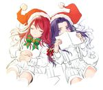 2boys berserker_(fate/zero) book bow child covered_mouth eyes_closed fate/grand_order fate/zero fate_(series) hat long_hair looking_at_viewer male_focus multiple_boys partially_colored purple_eyes purple_hair red_hair santa_costume santa_hat shorts suspender_shorts suspenders tristan_(fate/grand_order) younger