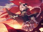 astolfo_(fate) black_bow black_legwear bow braid cape cecil86 cloud cloudy_sky crown fangs fate/grand_order fate_(series) gloves glowing hair_between_eyes hair_bow highres holding long_hair looking_away male_focus open_mouth otoko_no_ko outdoors pink_hair purple_eyes serious single_braid sky solo sparks sun sunlight sunset sword thighhighs weapon wind zettai_ryouiki