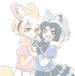 2girls :d animal_ears bangs black_gloves black_neckwear black_skirt blonde_hair blue_shirt blush_stickers bow bowtie common_raccoon_(kemono_friends) elbow_gloves eyebrows_visible_through_hair fangs fennec_(kemono_friends) fox_ears fox_tail from_side fur_trim gloves grey_hair hand_holding interlocked_fingers kemono_friends looking_at_viewer mitsumoto_jouji multicolored_hair multiple_girls open_mouth pink_shirt pleated_skirt puffy_short_sleeves puffy_sleeves raccoon_ears raccoon_tail red_eyes shirt short_hair short_sleeves simple_background skirt smile smug standing tail two-tone_hair white_background white_gloves white_skirt yellow_neckwear