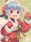1girl bag bell blue_hair coat itomugi-kun long_sleeves looking_at_viewer mittens multicolored_hair open_mouth red_coat red_eyes red_mittens sado_(kantai_collection) santa_costume short_hair smile snowflakes solo