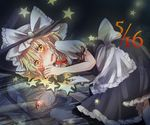 1girl apron blonde_hair braid crying dark_persona different_reflection evil_smile grin hair_over_one_eye hair_ribbon hat kirisame_marisa lying on_side red_eyes reflection ribbon short_hair sky smile star tears tigern touhou witch_hat yellow_eyes