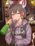 2girls animal_ears ashu beer_bottle bow brown_eyes brown_hair cat_ears cigarette cookie_(touhou) ear_piercing eyebrows_visible_through_hair grey_hair hair_bow hair_tubes hakurei_reimu highres jewelry kofji_(cookie) long_sleeves looking_at_viewer maru_(cookie) mouse_ears multiple_girls nazrin necklace piercing red_bow red_eyes ring short_hair smoking touhou