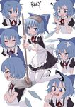 1girl ? akanbe alternate_costume anger_vein apron artist_name bandaid bangs black_dress blue_bow blue_eyes blue_hair blush bow cirno counting crossed_arms dress enmaided fkey full_body grin hair_bow highres ice ice_wings looking_at_viewer maid maid_apron mop multiple_views neck_ribbon open_mouth puffy_short_sleeves puffy_sleeves red_ribbon ribbon short_hair short_sleeves smile tearing_up tears tongue tongue_out touhou wings wrist_cuffs