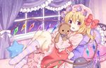 1girl bangs bed blonde_hair bloomers bow commentary_request curtains dress eyebrows_visible_through_hair flandre_scarlet full_body hair_between_eyes hat holding holding_stuffed_animal kure~pu long_sleeves looking_at_viewer lying mob_cap on_back open_mouth pillow purple_pillow red_bow red_dress red_eyes ribbon short_hair solo star star_pillow striped striped_legwear stuffed_animal stuffed_toy teddy_bear touhou underwear white_ribbon window wings