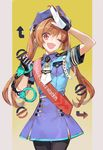 1girl ;d aiguillette alternate_costume alternate_headwear badge brown_hair buttons cuffs eiyuu_densetsu estelle_bright gloves handcuffs hat highres long_hair necktie nishihara_isao one_eye_closed open_mouth police police_hat police_uniform policewoman red_eyes salute skirt smile solo sora_no_kiseki twintails uniform