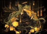1girl black_dress bottle butterfly dress flower green_eyes green_hair halo hatsune_miku light_bulb long_hair looking_at_viewer saberiii solo twintails very_long_hair vocaloid wine_bottle