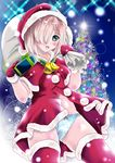 1girl aka_kitsune bell blue_panties capelet christmas_tree gift gloves grey_hair hair_ornament hair_over_one_eye hairclip hamakaze_(kantai_collection) hat jingle_bell kantai_collection looking_at_viewer open_mouth panties pom_pom_(clothes) red_gloves red_legwear sack santa_costume santa_hat smile solo thighhighs underwear